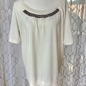 NY Collection Beaded Detail Tee Size Large